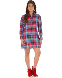Wrangler Women's Blue Patch Pocket Long Sleeve Plaid Tunic , , hi-res