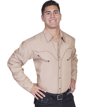 Scully Men's Long Sleeve Western Shirt, Tan, hi-res