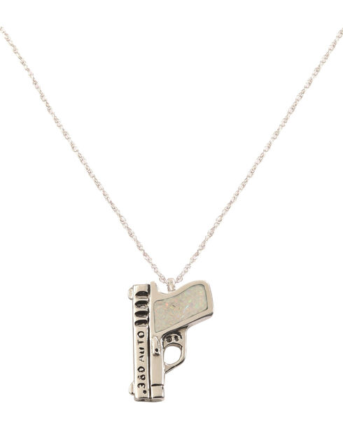 Silver Legends Women's White Opal 380 Auto Pistol Necklace , White, hi-res