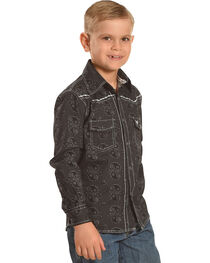 Cowboy Hardware Boys' Black Barbed Paisley Print Shirt , Black, hi-res