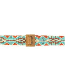 Blazin Roxx Women's Wide Beaded Tribal Belt, , hi-res