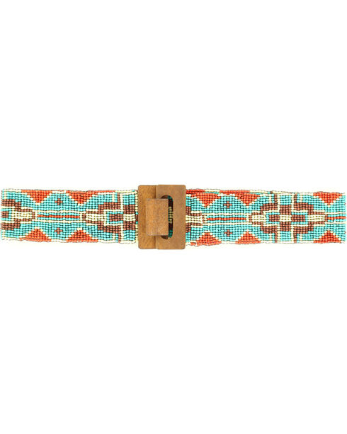 Blazin Roxx Women's Wide Beaded Tribal Belt, Turquoise, hi-res