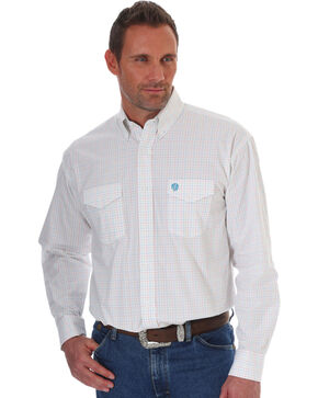 Wrangler Men's George Strait White Plaid Shirt - Tall , White, hi-res