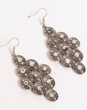 Shyanne Women's Jade Sea Multi Concho Chandelier Earrings, Silver, hi-res