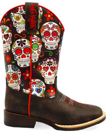 Blazin Roxx Girls' Destiny Skull Boots - Square Toe , , hi-res