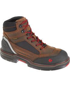 Wolverine Mens Brown Overman Waterproof Carbonmax 6 Work Boots - Round Toe,  Black/brown