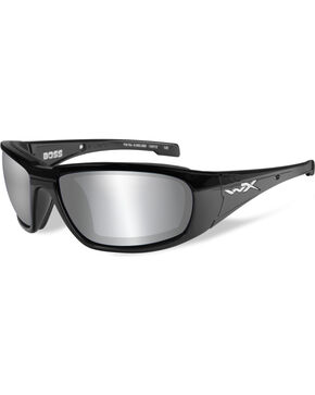 Wiley X Men's Boss Silver Flash Smoke Grey Gloss Black Sunglasses , Black, hi-res
