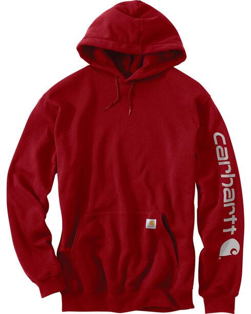 Carhartt Men's Midweight Logo Sleeve Hooded Sweatshirt, Red, hi-res