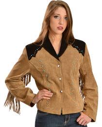 Liberty Wear Women's Suede Fringe Studded Jacket, , hi-res