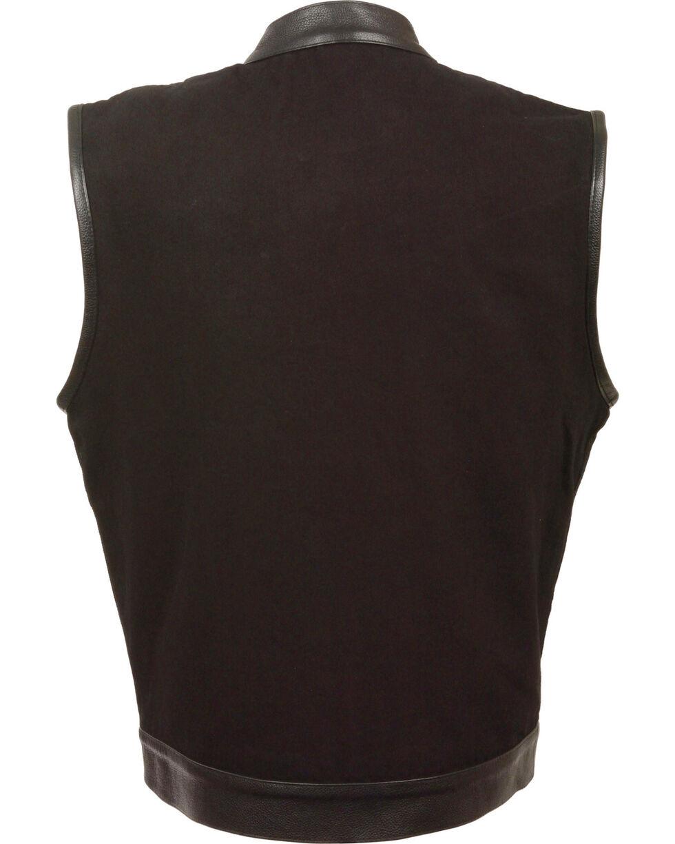 Milwaukee Leather Men's Black Denim Leather Trim Club Style Vest , Black, hi-res