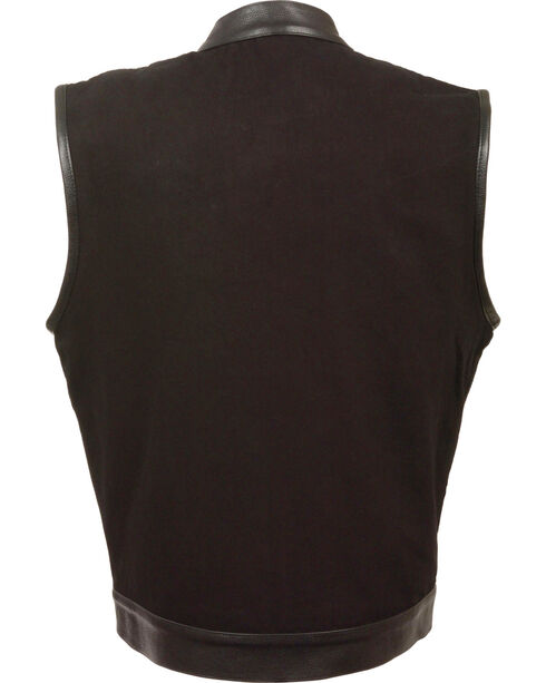 Milwaukee Leather Men's Black Denim Leather Trim Club Vest - Big 3X, Black, hi-res