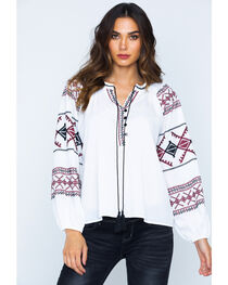 Miss Me Women's White Embroidered 4 Button Peasant Top , , hi-res