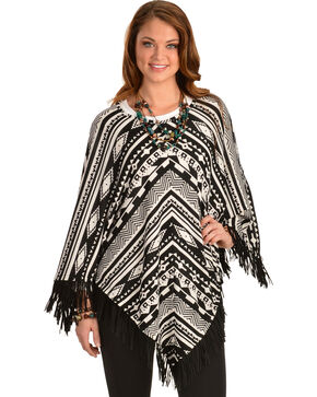 Cowgirl Justice Sonora Fringe Poncho, Blk/white, hi-res