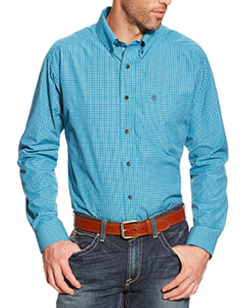 Ariat Men's Leland Plaid Western Shirt, Blue, hi-res