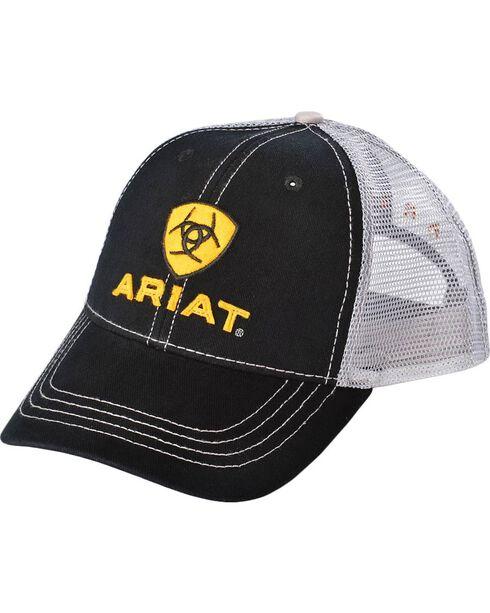 Ariat Black and White Mesh Logo Ballcap, Black, hi-res