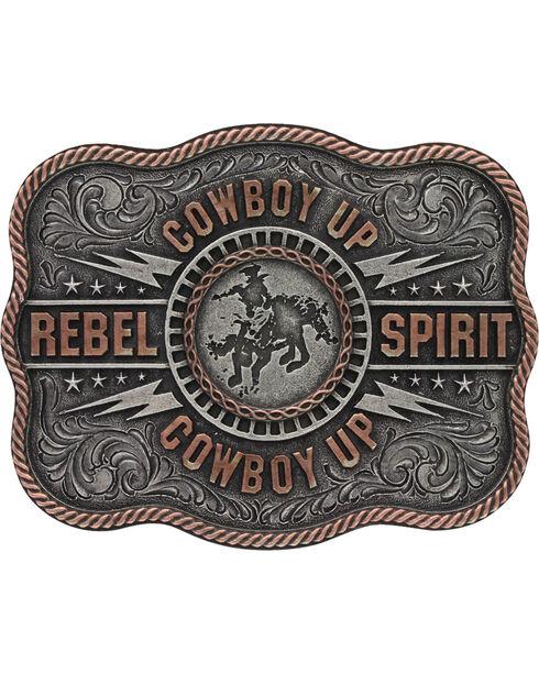 "Montana Silversmiths Men's Silver Scalloped Cowboy Up ""Rebel Spirit"" Buckle , Silver, hi-res"