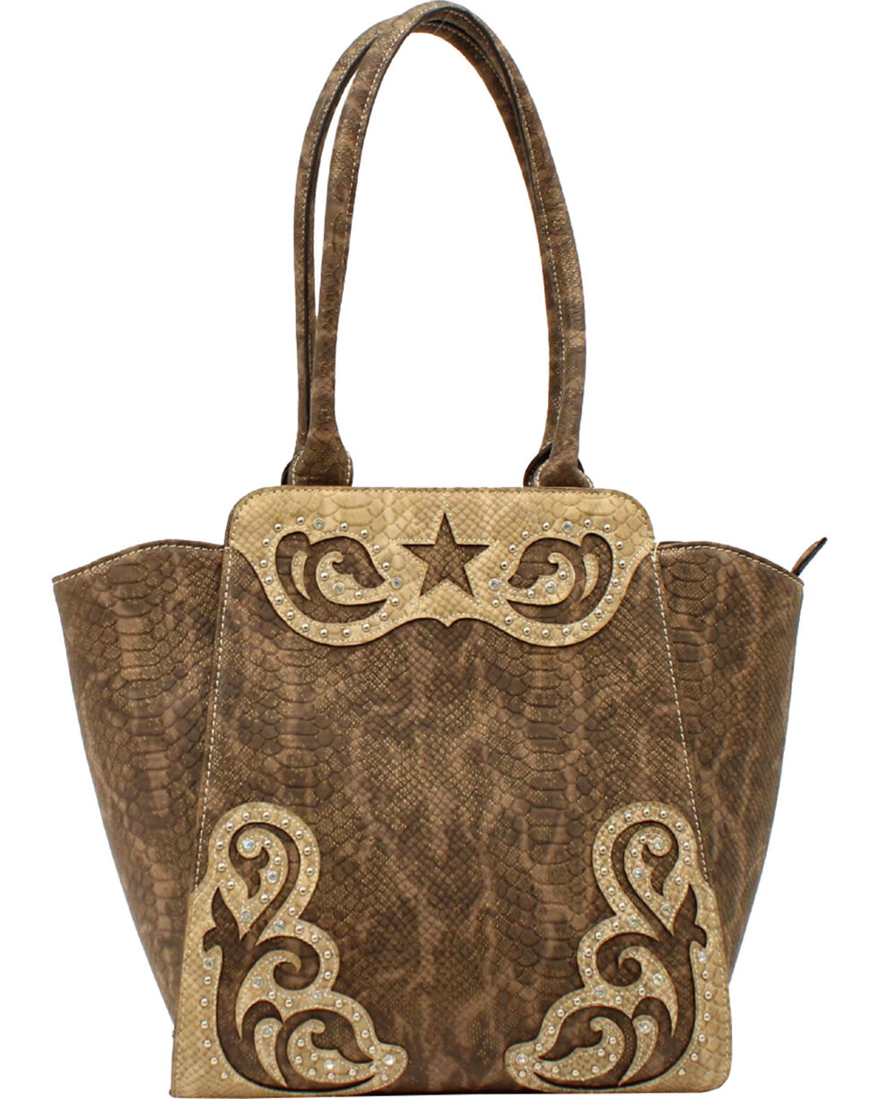 Blazin Roxx Women's Snake Skin Star Large Shoulder Bag, Brown, hi-res