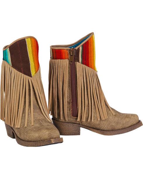 Blazin Roxx Toddler Girls' Raven Fringe Accent Boots - Snip Toe, Brown, hi-res