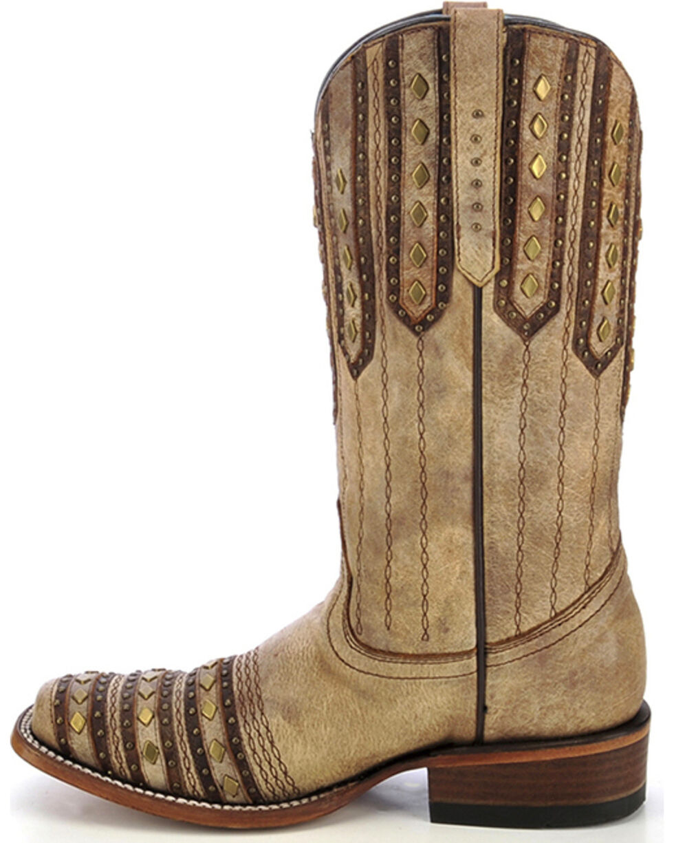 Corral Women's Studded Patch Western Boots, Tan, hi-res