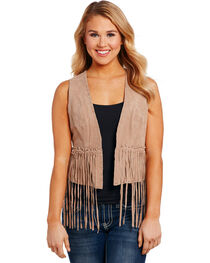 Cripple Creek Women's Sandstone Fringe Vest , , hi-res