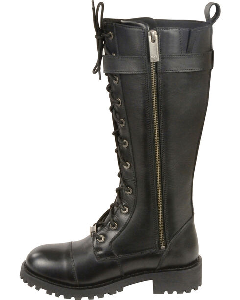 "Milwaukee Leather Women's 14"" Lace To Toe High Rise Leather Boots - Round Toe, Black, hi-res"
