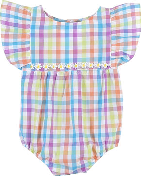 Wrangler Infant Girls' Ruffled Cap Sleeve Onesie , Multi, hi-res