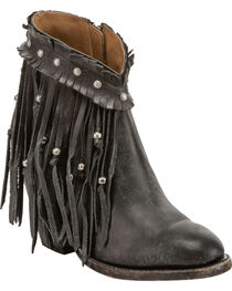 Lucchese Women's Farrah Beaded Fringe Booties - Round Toe, , hi-res