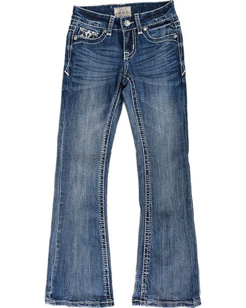 Grace In LA Girls' Embroidered Cross Boot Cut Jeans, Blue, hi-res