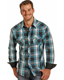 Rock & Roll Cowboy Men's Long Sleeve Turquoise Plaid Snap Shirt, , hi-res