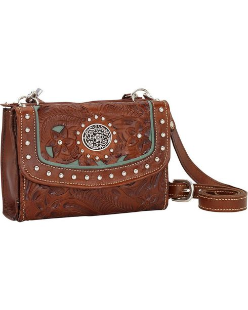 American West Women's Texas Two Step Crossbody Wallet, Brown, hi-res