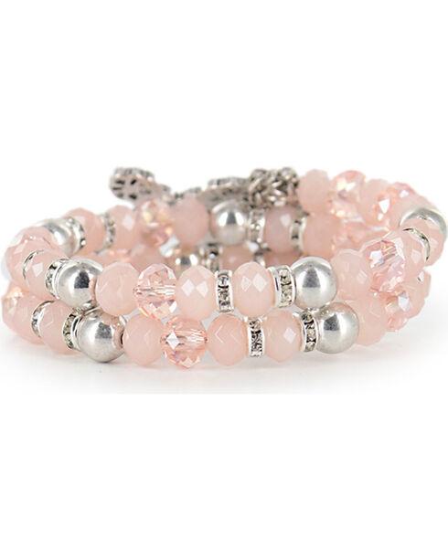 Shyanne® Women's Vintage Cross Coil Bracelet, Pink, hi-res