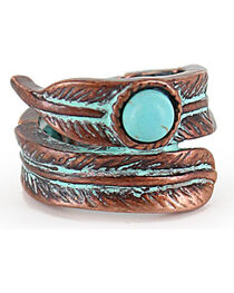 Shyanne® Women's Bronze and Turquoise Feather Stretch Ring, , hi-res