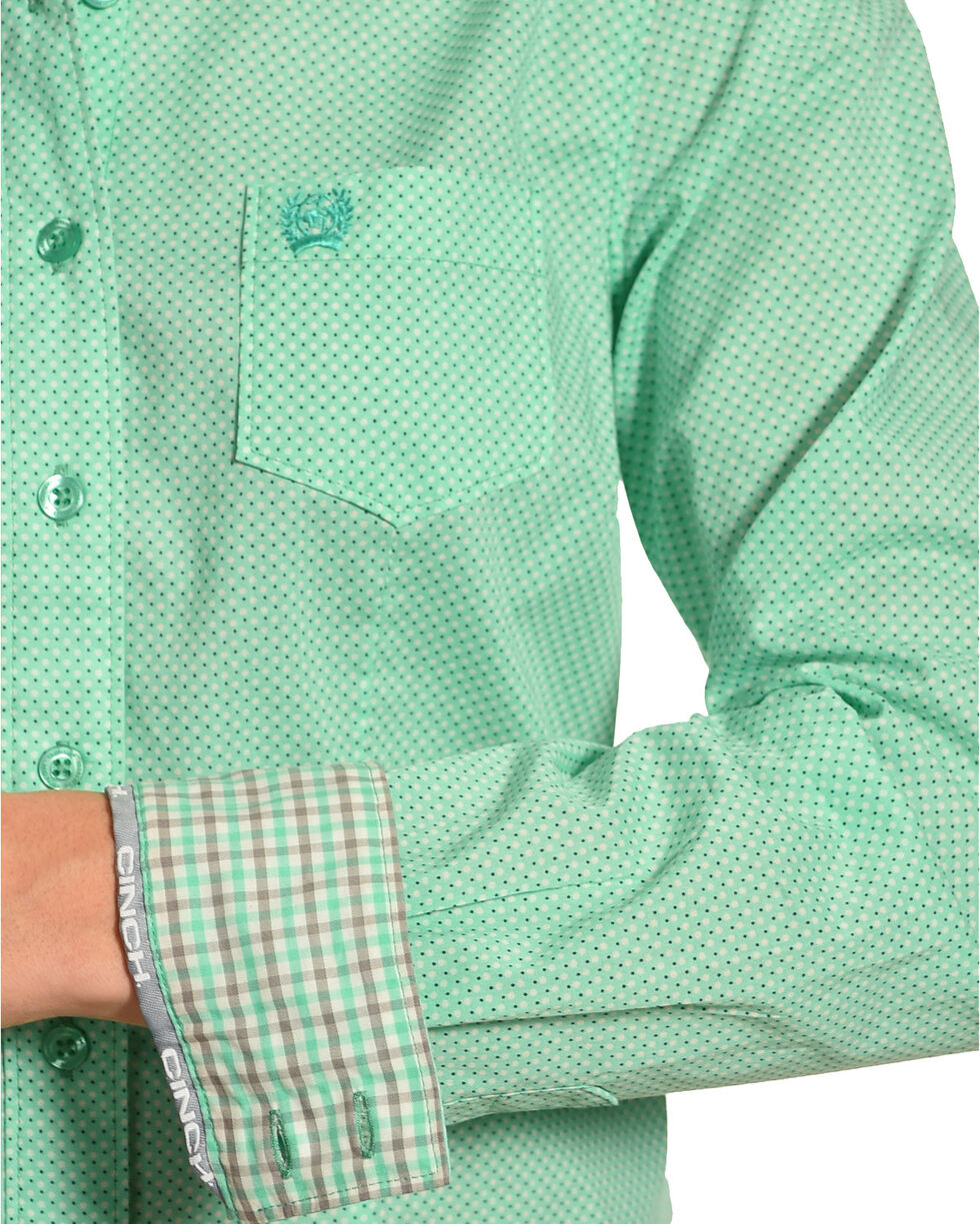 Cinch Women's Mint Plain Weave Print Long Sleeve Button Down Shirt, Green, hi-res