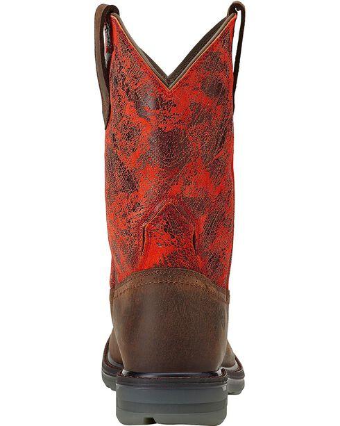 Ariat Men's Maverick Wide Square Toe Western Work Boots, Dark Brown, hi-res
