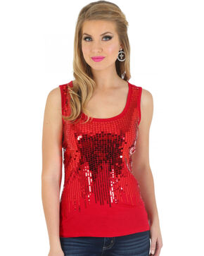 Wrangler Women's Sequin Tank Top, Red, hi-res