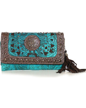 Savana Women's Tooled Turquoise Studded Wristlet Wallet, Turquoise, hi-res