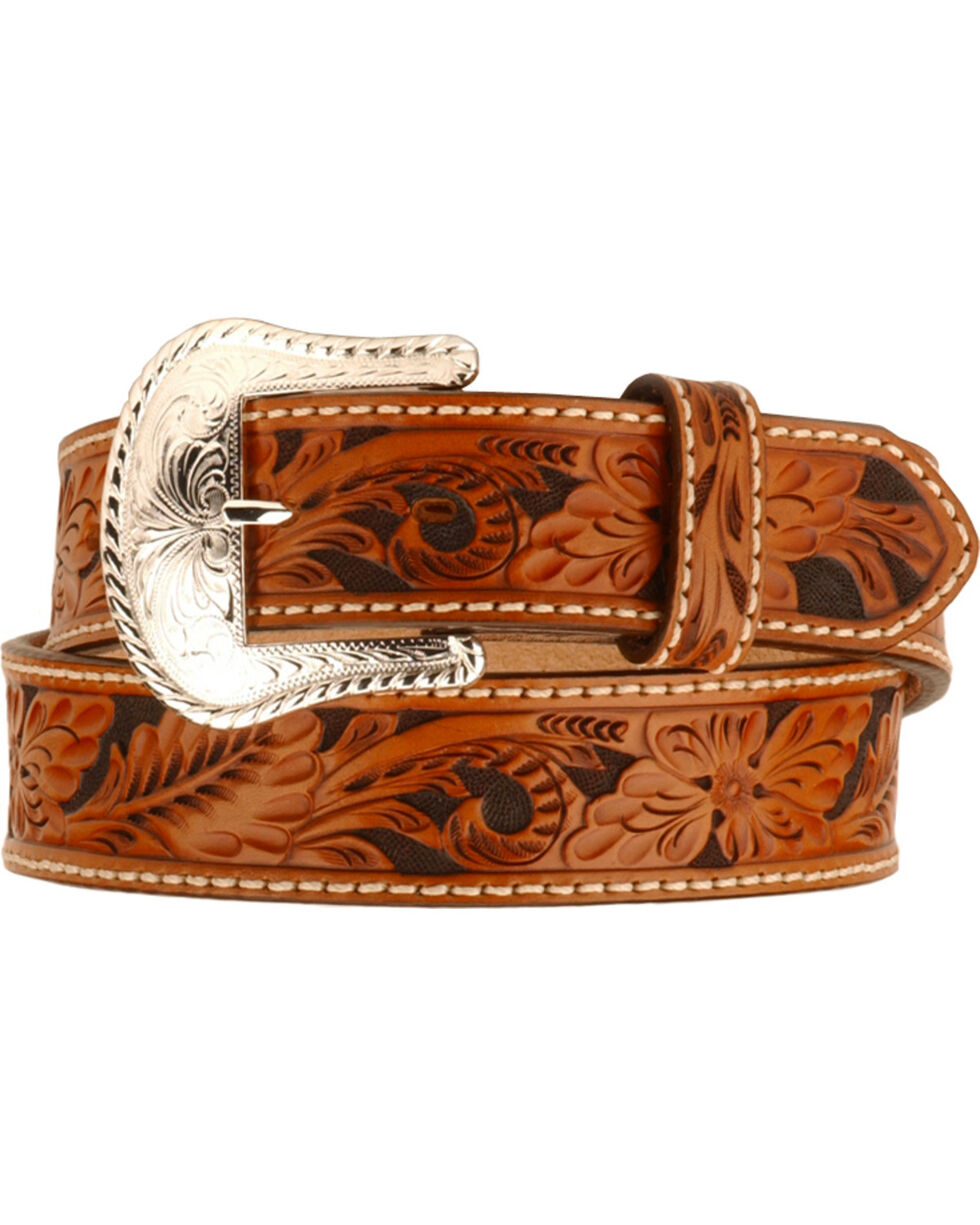 Tony Lama Men's Tooled leather Belt, Tan, hi-res