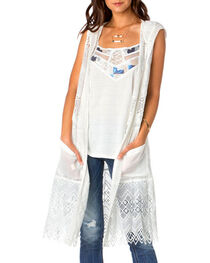 Miss Me Women's Sleeveless Hooded Fashion Duster, , hi-res