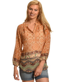 Katie's Kloset Women's 3/4 Sleeve Print Top, , hi-res