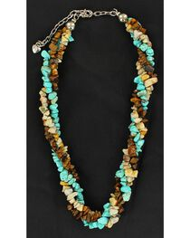 Twisted Multi Stone Beaded Necklace, , hi-res