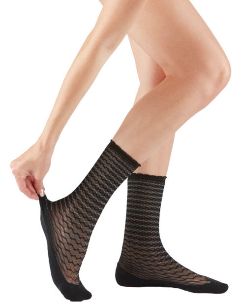 Bootights Women's Black Honeycomb Trouser Socks , Black, hi-res