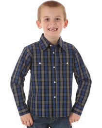 Wrangler Boys' Wrinkle Resist Black & Blue Plaid Shirt, , hi-res
