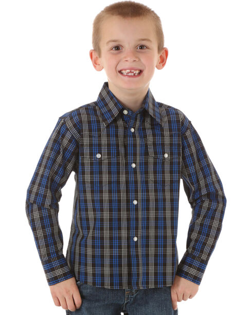 Wrangler Boys' Wrinkle Resist Black & Blue Plaid Shirt, Navy, hi-res