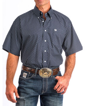 Cinch Men's Navy Floral Short Sleeve Shirt , Navy, hi-res