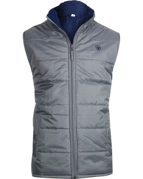 Ariat Men's Reversible Meridian Vest, Grey, hi-res