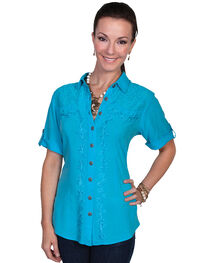 Scully Women's Short Sleeve Lace Embroidered Blouse, , hi-res