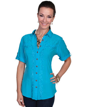 Scully Women's Short Sleeve Lace Embroidered Blouse, Turquoise, hi-res