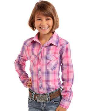 Panhandle Girls' Pink Plaid Long Sleeve Snap Shirt, Pink, hi-res