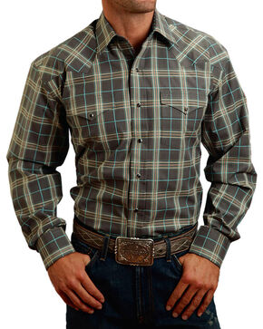 Stetson Men's Classic Plaid Printed Long Sleeve Shirt, Grey, hi-res