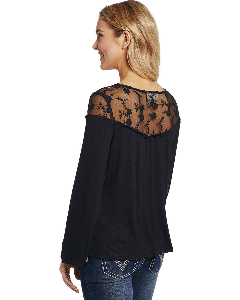 Cowgirl Up Women's Black Lace Yoke Top , Black, hi-res